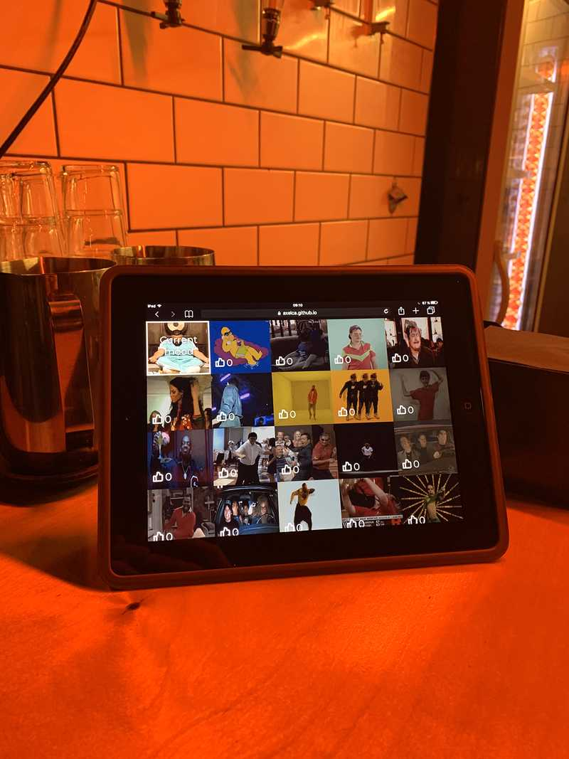 Surrounds, a digital prototype on an iPad in a bar